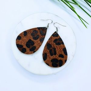 5 for $25 Textured Leopard Print Leaf Earrings